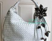 Tie me Knot Large Leather Flower Bag / Purse Charm - black