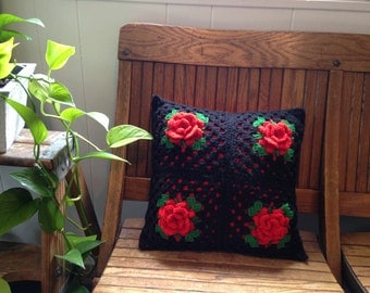 Vintage Red Rose Granny Square Crochet Pillow