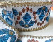 Trim,white pale blue gold embroidered,vintage with glitter,6 cm high,3 yards,supplies