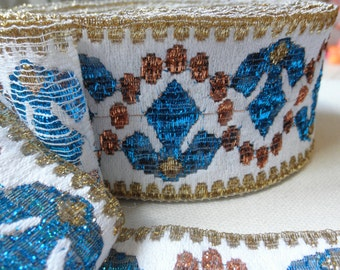 Trim,white pale blue gold embroidered,vintage with glitter,6 cm high,2 yards,supplies