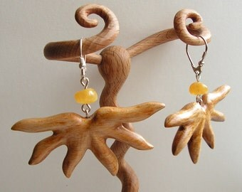 Hand carved wooden jewelry unique organic earrings ligt wood amber sterling silver flowers