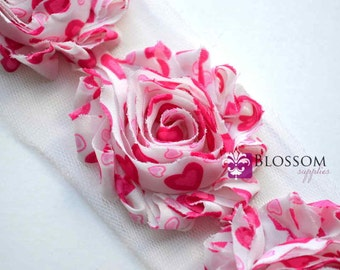 1/2 or 1 Yard Increment - HOT PINK Hearts - Chiffon Shabby Rose Trim - Valentine's Day - Headband Flowers - Hot Pink Blossom Supplies Craft