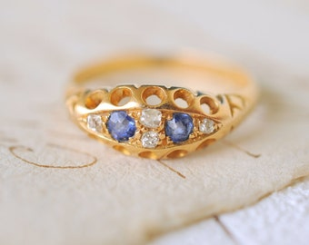 1800's Antique Victorian engagement wedding ring / Sapphires and Diamonds 18k gold ring