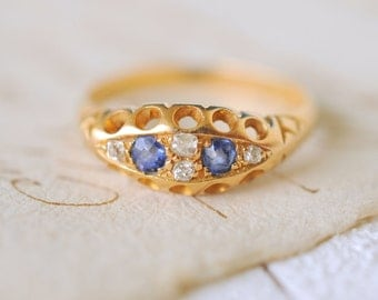 SALE/// 1800's Antique Victorian engagement wedding ring / Sapphires and Diamonds 18k gold ring