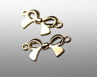 10 PCS Gold Metal Bow Tie Bead Pendant for Crafts, Embellishments
