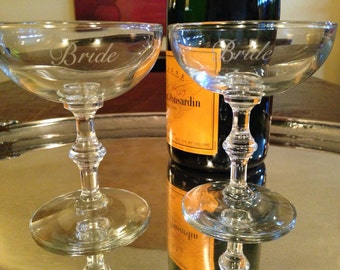 Bride and Bride Vintage Champagne Coupe Toasting Glasses Set of 2