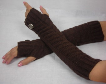 Knitted armwarmer -  Arm Warmers - - knit gloves with Italian buttons - womens Fingerless Gloves - Brown