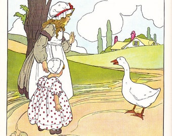 Vintage Children's Book Illustration from Mother Goose, Blanche Fisher Wright, artist.