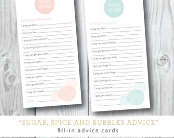 Mod Dots Sugar and Spice Prayer Cards | Custom Colors | Baby Shower Advice Cards | Printed or Printable by Darby Cards