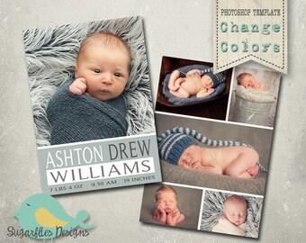 Boy Baby Announcement PHOTOSHOP TEMPLATE - Baby Boy 007