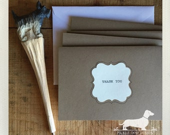 Thank You. Note Cards (Set of 8) -- (Vintage-Style, Simple, Shabby Chic, Brown Kraft Paper, Rustic Wedding, Typewriter Font, Gift Under 15)