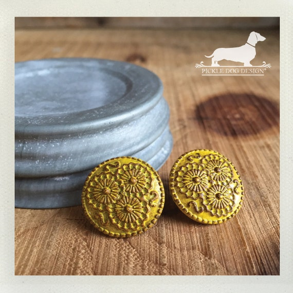 CLEARANCE! Yellow Cirque. Post Earrings -- (Vintage-Style, Round, Flower, Bright, Sunny, Simple, Rustic, Cute Birthday Gift for Her Under 5)