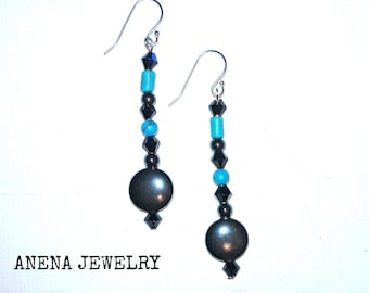 "Women's Earrings : Turquoise, Hematite  & Swarovski Elements , 925 Sterling Silver ""Balanced and Brave"""