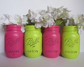 Painted and Distressed Ball Mason Jars- Lime Green and Hot Pink-Set of 4-Flower Vases, Rustic Wedding, Centerpieces