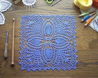 Doily in Periwinkle / Linen / Placemat / Wedding | Square Doily / Table Home Decoration / Pine Cone / Absolutely Stunning