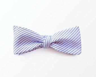 Men's Bow Tie, Purple Stripe Bowtie, Self Tie Bow Tie for Men, Wedding Bow Tie / READY TO SHIP