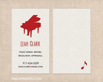 piano teacher business cards - thick -  color both sides - FREE UPS ground shipping