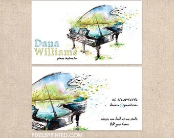 piano teacher business cards - thick - glossy or matte - color both sides - FREE UPS ground