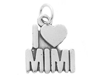 Sterling Silver I Love Mimi Grandmother Charm