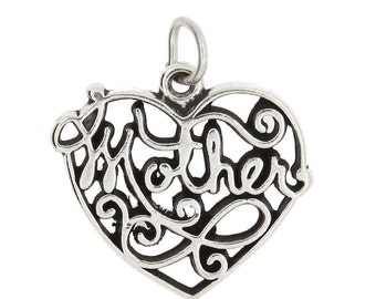 Sterling Silver Mother Charm (Flat One Side Charm)