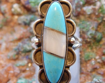 Native American Turquoise Mother of Pearl Ring