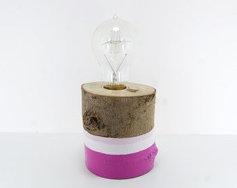 Natural Wood Lamp, Rustic Lamp, Rustic Lighting, Desk Lamp, Table Lamp, Purple Lamp, Natural Lighting, Purple Decor, Paint Dipped