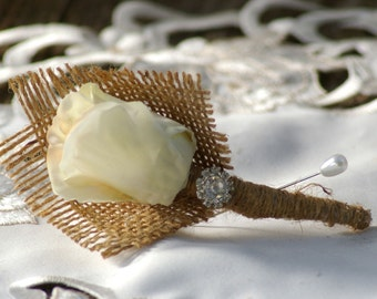 Shabby Chic  Boutonniere Ivory Silk Rose Burlap Bridal