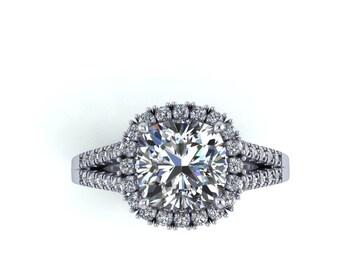 custom design rings,Cushion cut  forever brilliant Moissanite & Diamond engagement ring or wedding ring, Style 158WDM