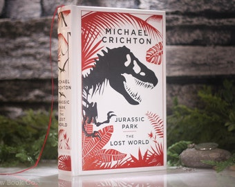 Hollow Book Safe - Jurassic Park- The Lost World (LEATHER-BOUND) by Michael Crichton – Modern Classic – Hollowed Out Book  –Magnetic Closure