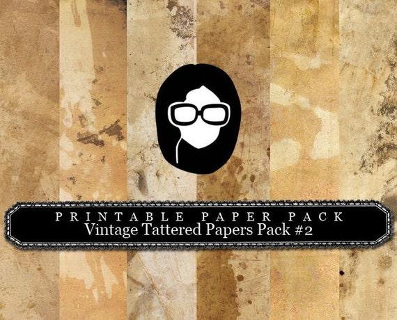 """8.5x11 Vintage Digital Printable Scrapbook Paper- """"Vintage Tattered Paper Pack #2"""" - (6PGS)  INSTANT DOWNLOAD"""