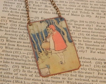Red Riding Hood necklace book illustration literature literary mixed media jewelry