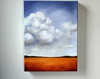 Landscape oil painting, original art, clouds, terracotta and perwinkle, home decor painting 9x12  - New Day