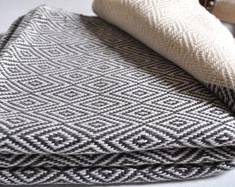 Diamond Pattern Turkish Towel Peshtemal towel in ivory black color Cotton Woven pure soft