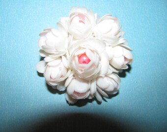 Vintage Plastic White Accented With Pink Bead Center Rose Designed Brooch Pin