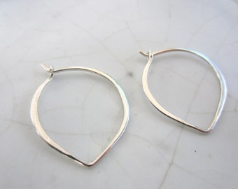1 Pair Lotus Hoop Earrings--Plain Sterling Silver