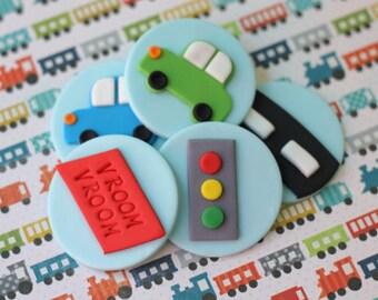 Cars Fondant Topper Transportation Fondant Transportation Cars Trucks Fondant Topper Set Things that go fondant cake topper set
