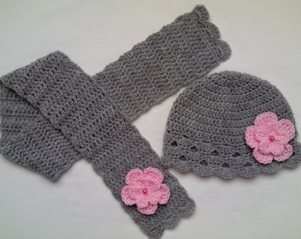 Free Crochet Patterns For Childrens Hats And Scarves : Crochet Baby Toddler Kids Hat and Scarf Set gift grey pink