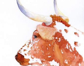 kitchen art, cow painting, watercolor animal, longhorn painting, animal art, watercolor, longhorn, ranch house art, farm house art,