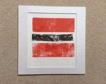 Orange & Black Relief Art Print