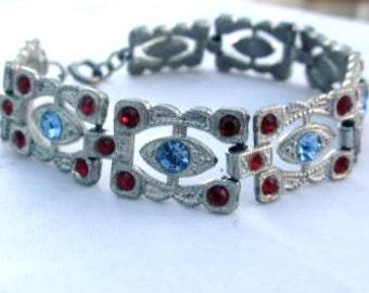 Art Deco Blue Rhinestone Bracelet Vintage Jewelry, SUMMER SALE