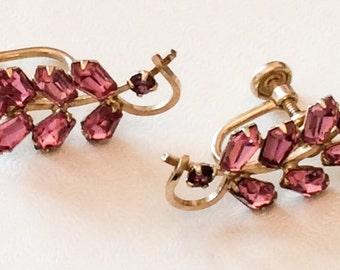 Pink Rhinestone Earrings Gold Fill 1940s Art Deco Vintage Jewelry, SUMMER SALE
