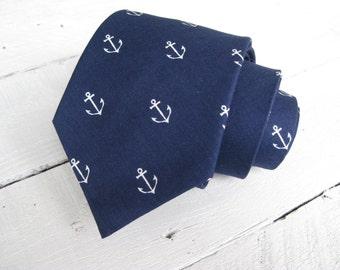 Navy Anchors Mens Necktie~Cotton Necktie~Anniversary Gift~Wedding Tie~Mens Gift~Cotton Tie~Mens Tie~Anchor Tie