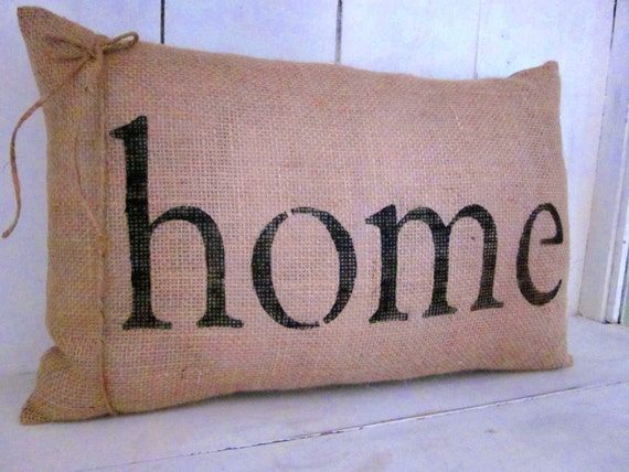 Decorative Throw Pillows With Words : Burlap pillow home pillow word pillow shabby by 112FarmhouseLayne