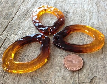 3pcs 55mm Amber Beads, Acrylic, Resin, Yellow Beads, Freeform Pendant, Hoop Beads, Ombre Beads, Gradient Beads, Jewelry Supplies