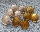 10 old buttons from military uniform of soviet Soldier with star, anchor