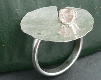 Hammered Lily Pad with Champagne Topaz Ring Size 7.5