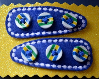Hair Accessories - Handmade - 2  Blue Felt  Covered Snap Clips - Embellished With Yellow, Blue and Green Striped Buttons