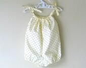Baby girl romper ivory black polka dot bubble romper playsuit sunsuit