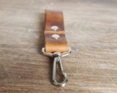 Tan leather keyfob - personalised leather, swivel clip and hoop