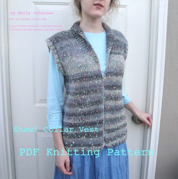 Vest Jumper Knitting Pattern : Shawl Collar Vest PDF Knitting Pattern, Chunky Bulky Yarn, Easy Knit, Sweater...